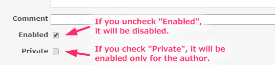 Screenshot of enabled and private