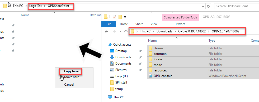Copy files from source to destination