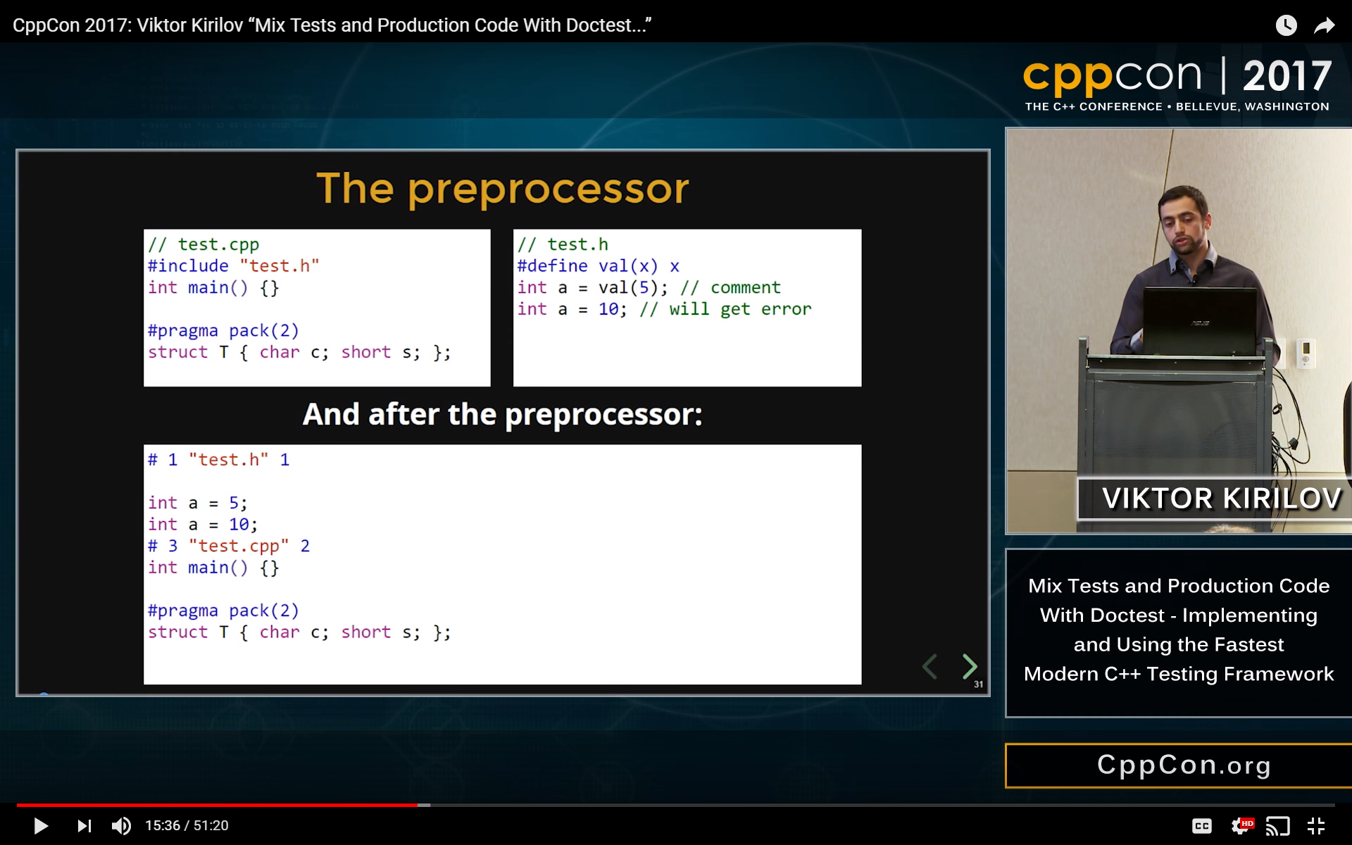 CppCon 2017 talk about doctest on youtube