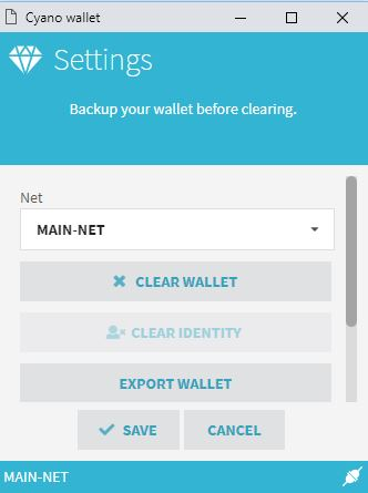 Cyano settings mainnet