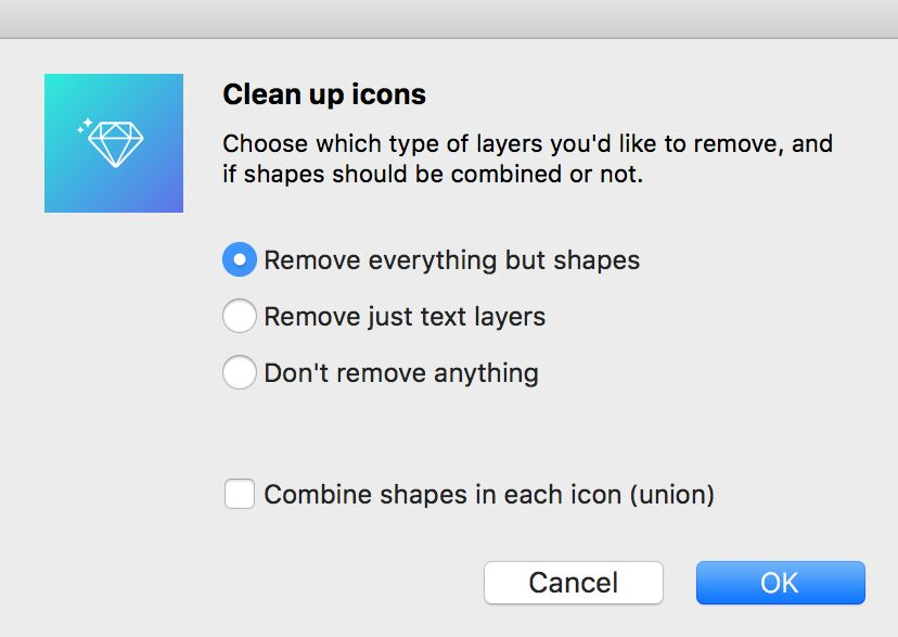Choose what you want to keep and what or want to remove from your icons.