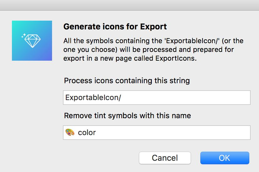 Set your tint layer name, and icons containing it will be processed to the ExportIcons page.