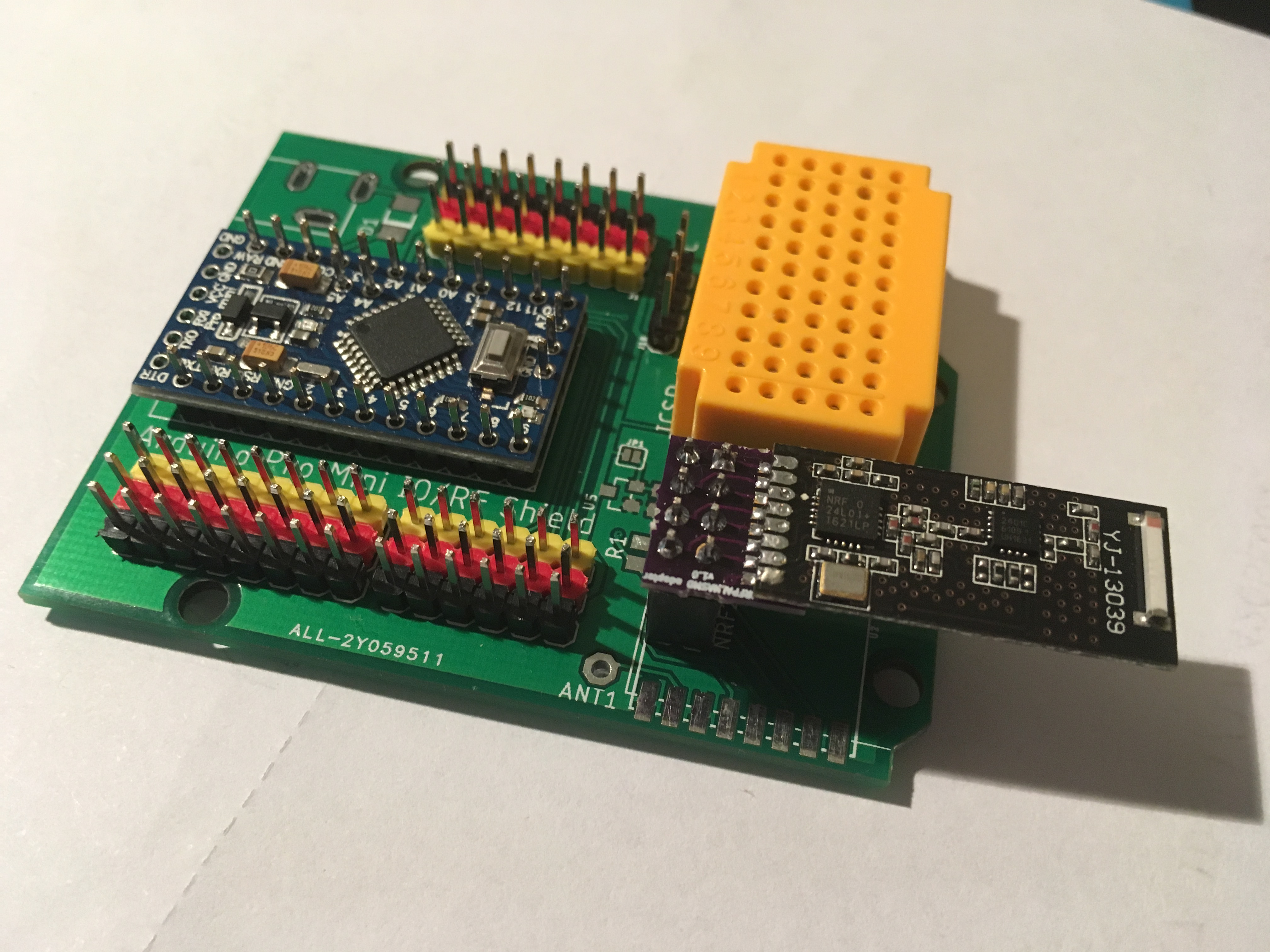 SMD nrf24l01+ modules can be used with an adapter