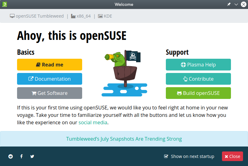Screenshot of openSUSE Welcome.