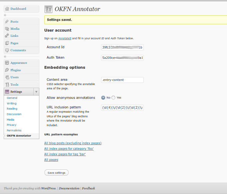 wp-annotator settings screenshot