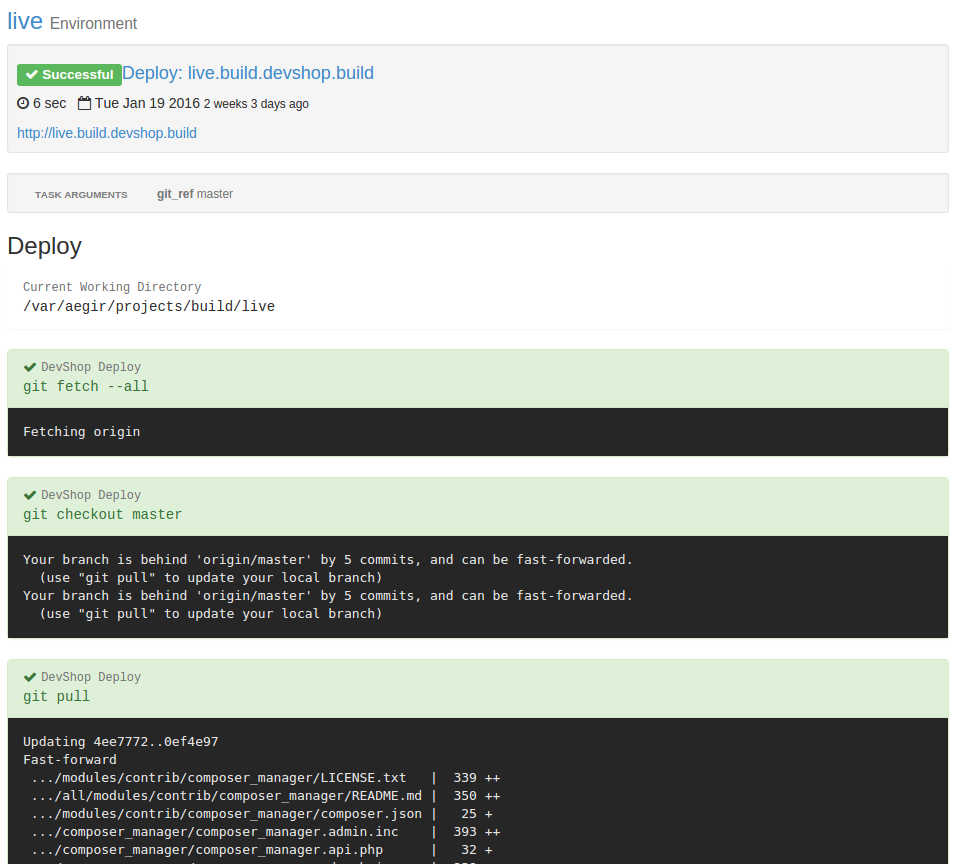A screenshot of Deploy Code logs.