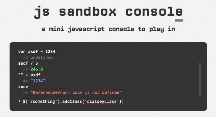 js sandbox console screenshot