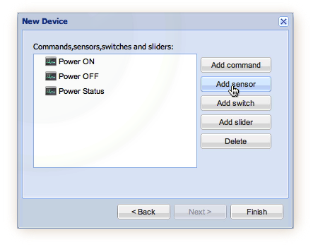 New Sensor in Create Device Wizard