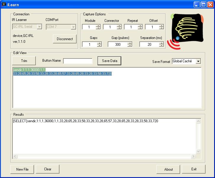 Global Caché - OR_GC_iLearn_CodeSaved