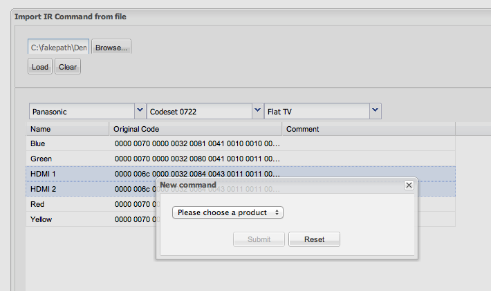Importing IR codes from XCF files - Import IR Command from file New command window