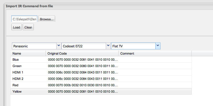 Importing IR codes from XCF files - Import IR Command from file window codes displayed
