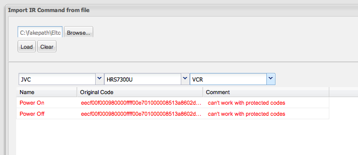 Importing IR codes from XCF files - Import IR Command from file window protected codes