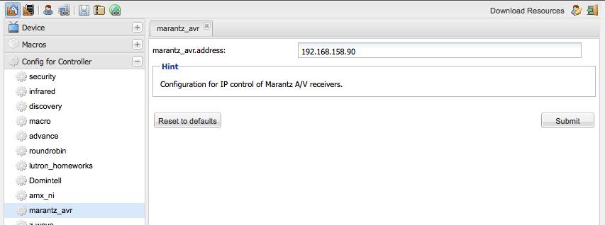 Marantz AV Receiver - Marantz AVR Controller Config