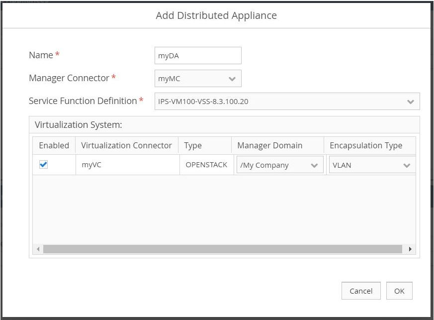 Add Distributed Appliance