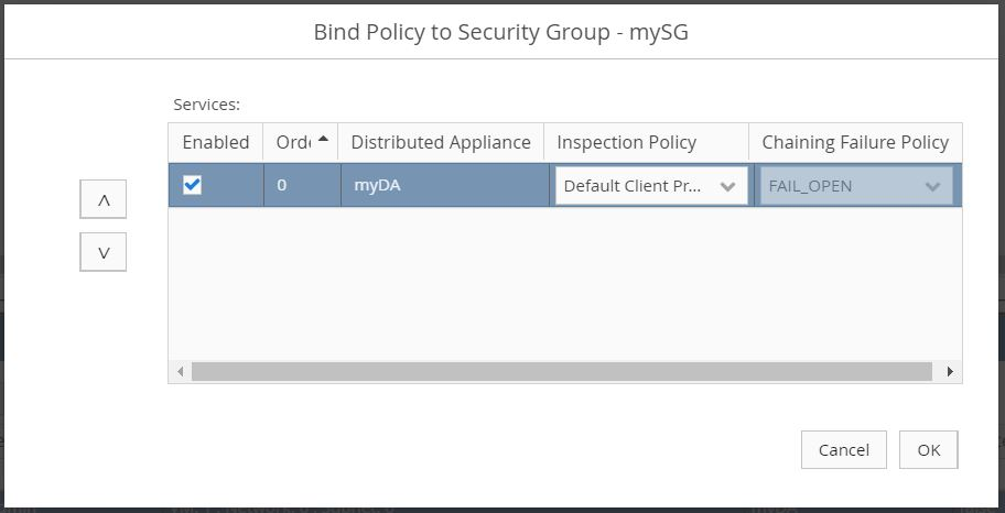 Bind Policy to Security Group