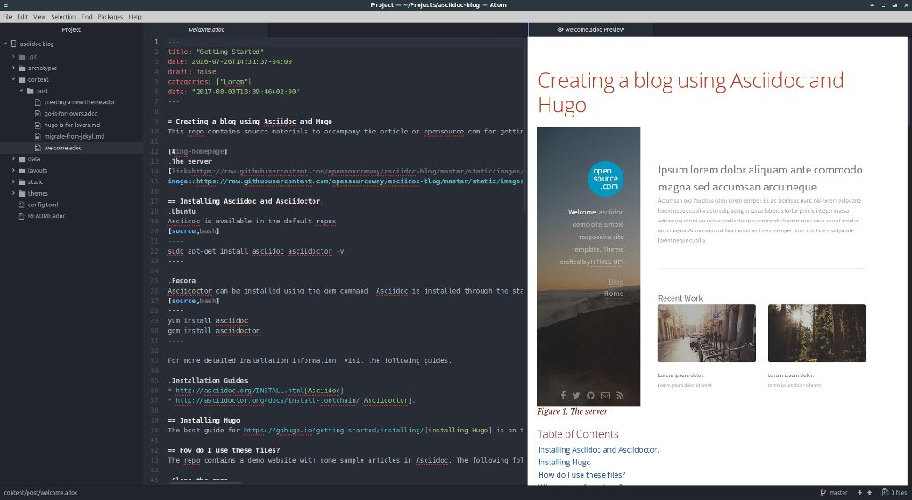 Atom Editor with preview plugin