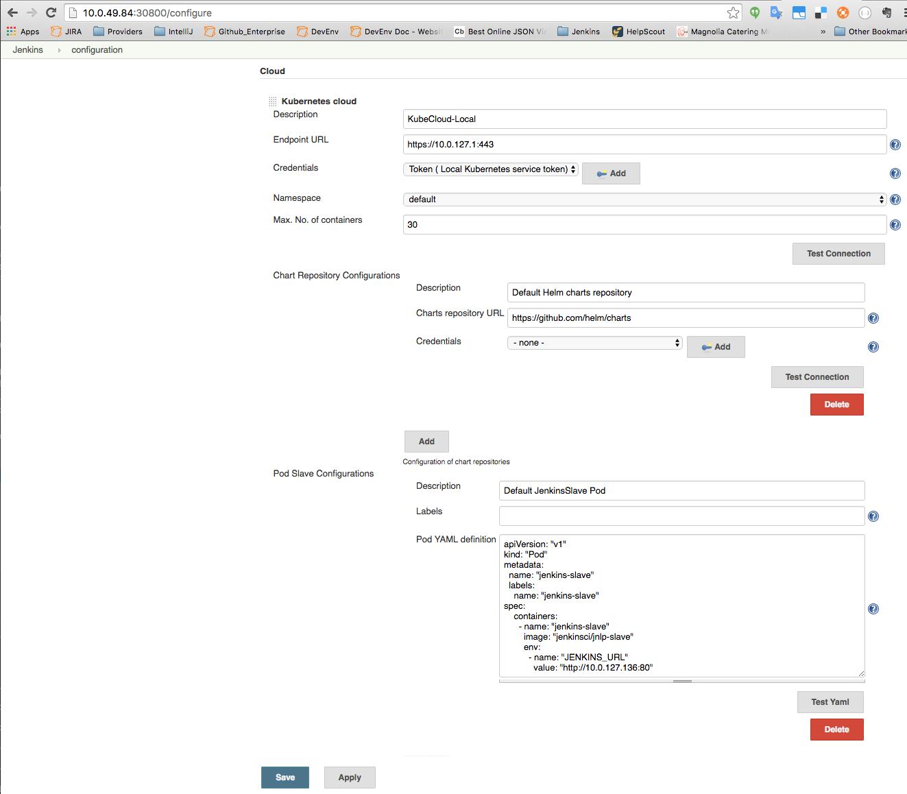 Cloud configuration screenshot