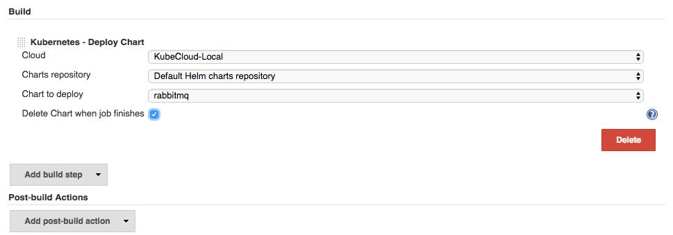 Deploy Chart build step screenshot