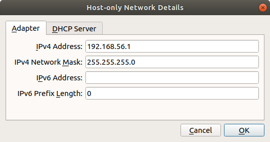 Screenshot of the Host-only network configuration screen