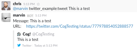 Successful Execution of the ``tweet`` Command from Cog