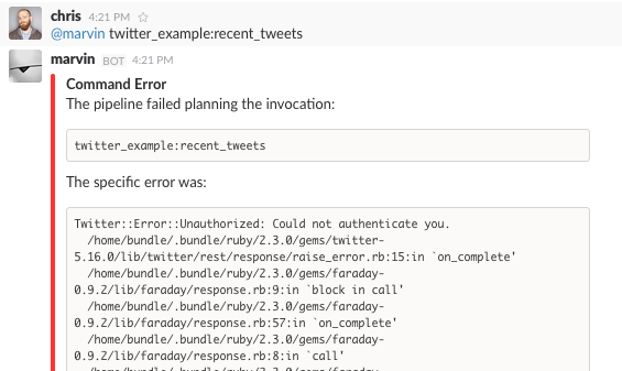 Command Failure with Stack Trace
