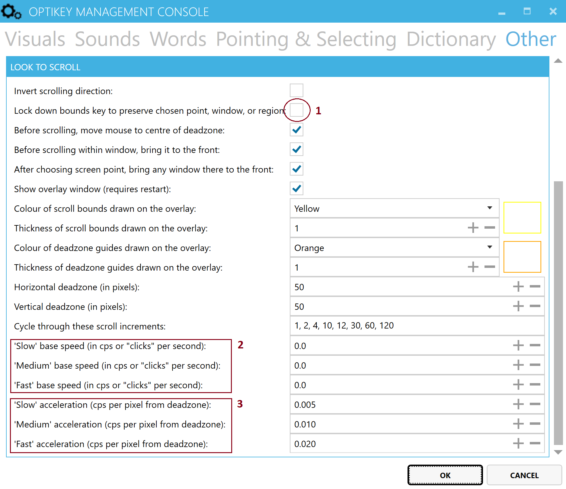 Screenshot of the look to scroll settings in the Management Console