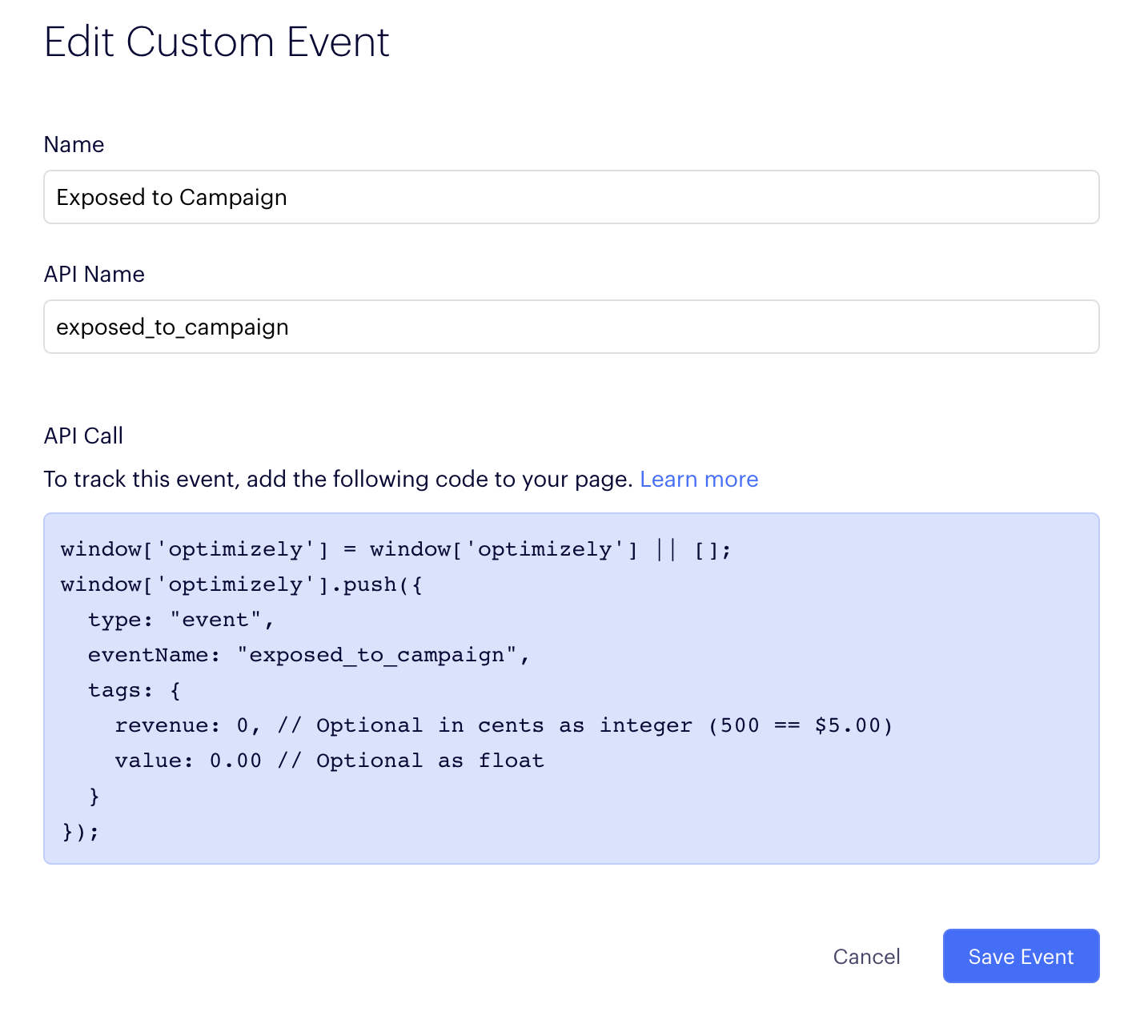 Creating a custom event in Optimizely Web