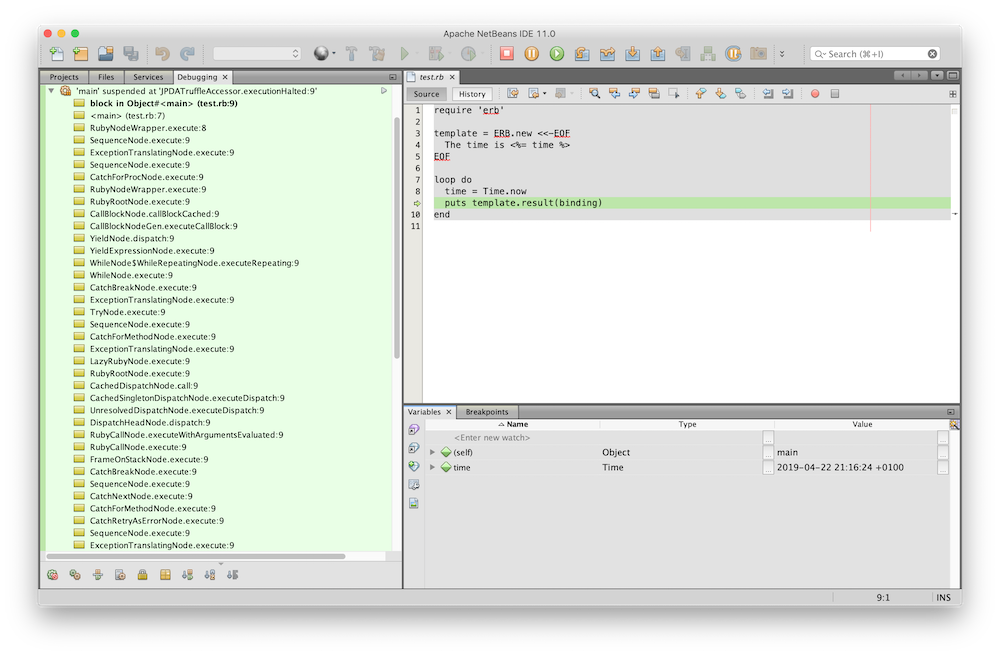 NetBeans debugger session