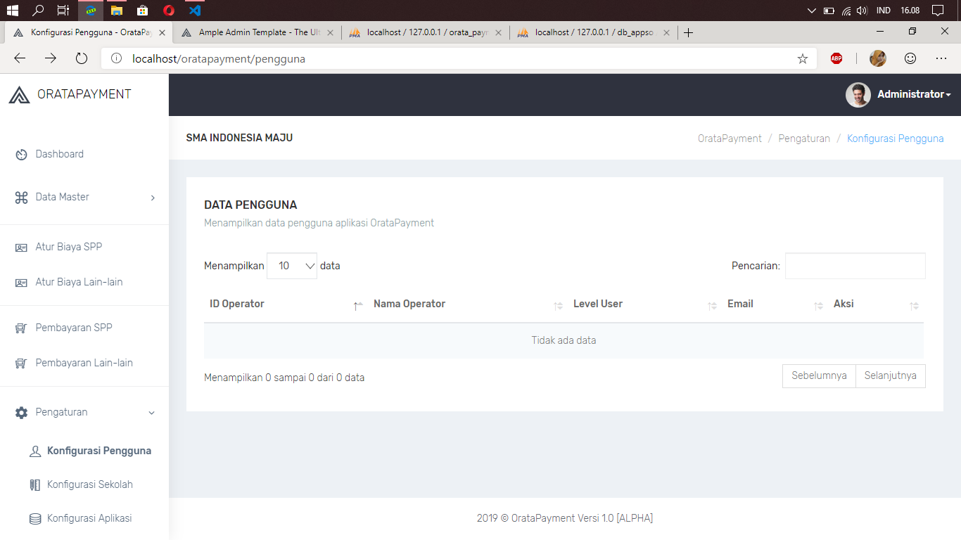 Aplikasi Pembayaran Sekolah Berbasis Web dengan Codeigniter Ajax