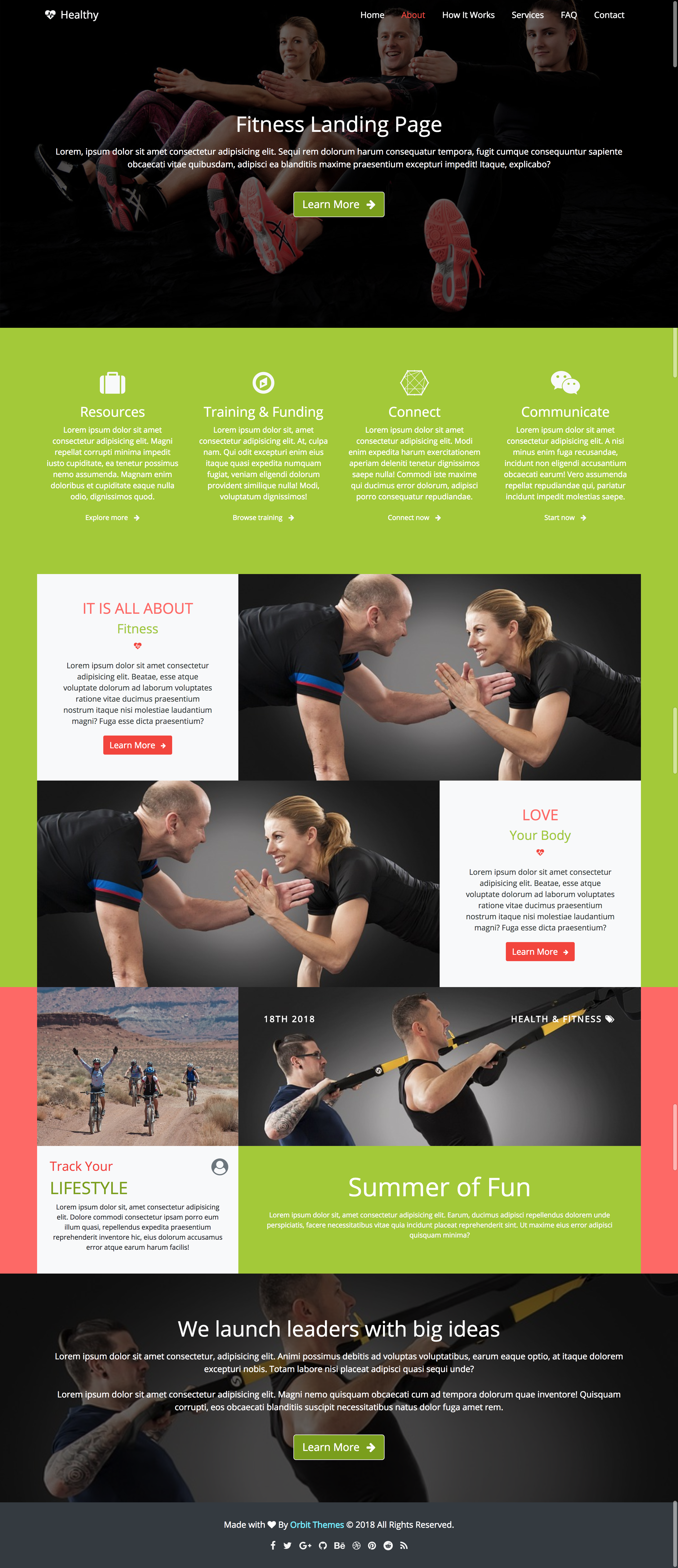 Healthy Fitness Landing Page Preview