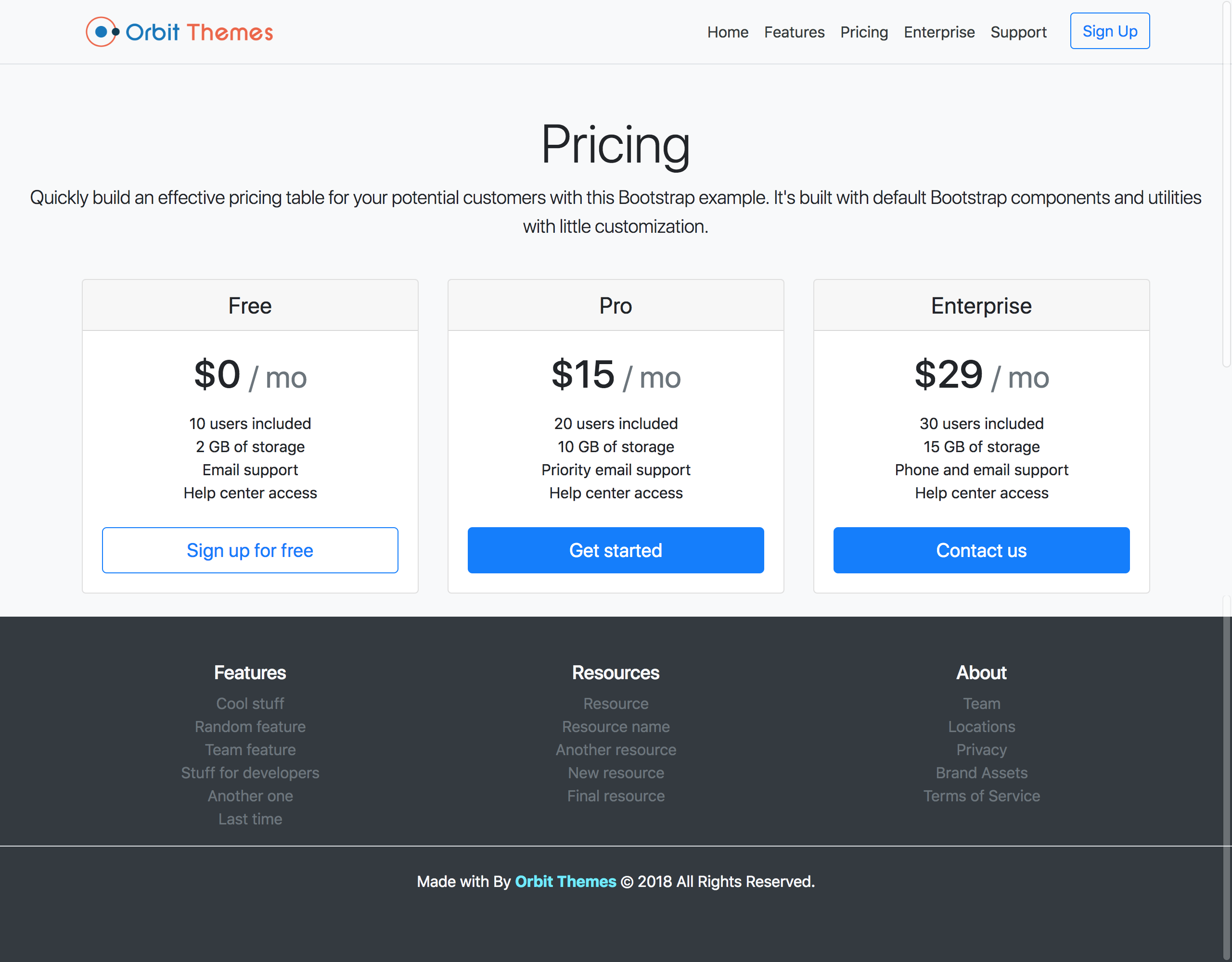 Pricing Page Template Preview
