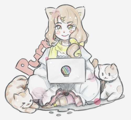 A woman sitting cross-legged, using a computer. A beige lays on her right, and a white cat on her left.