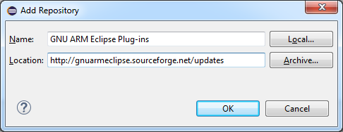 Add GNU ARM Eclipse Plug-ins