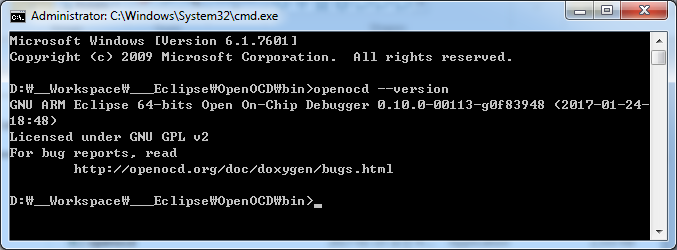 Confirm OpenOCD version