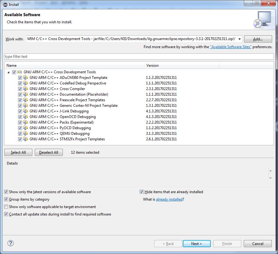 Install GNU ARM Eclipse Plug-ins
