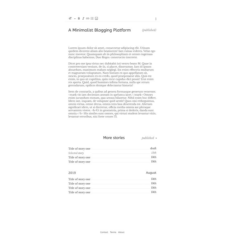 Editor view of the blog platform