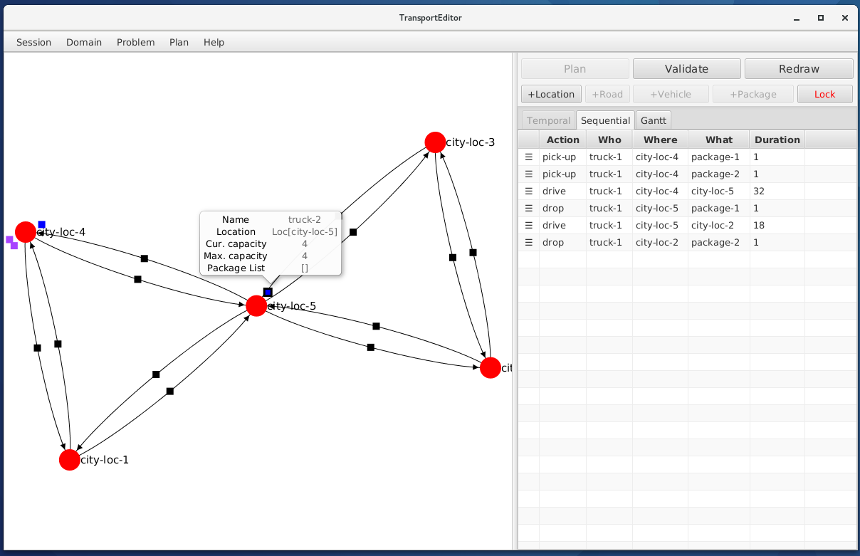 TransportEditor showing an example Transport problem.