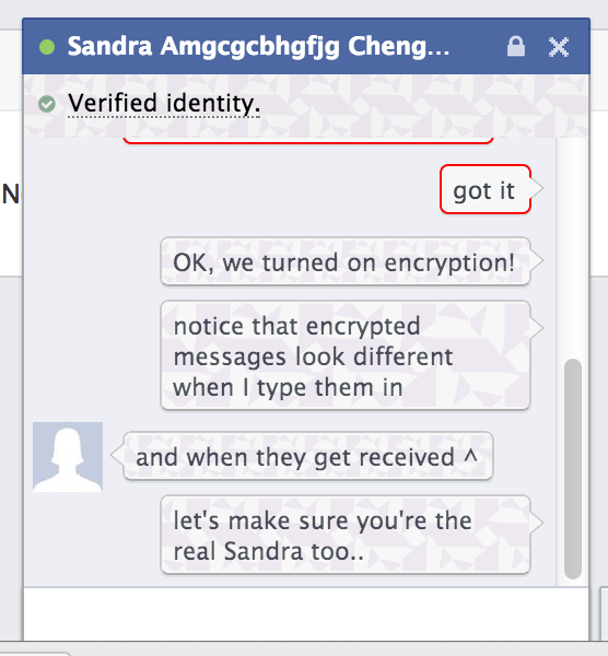 Authenticated and encrypted chat