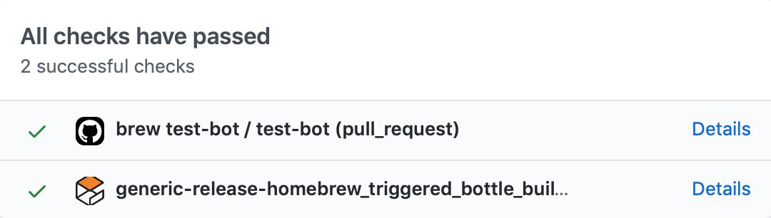 GitHub build status interface screenshot
