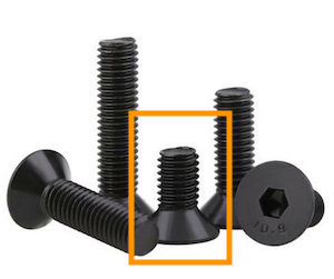 Different height countersunk screws. Boxed in orange is M3x4 mm.