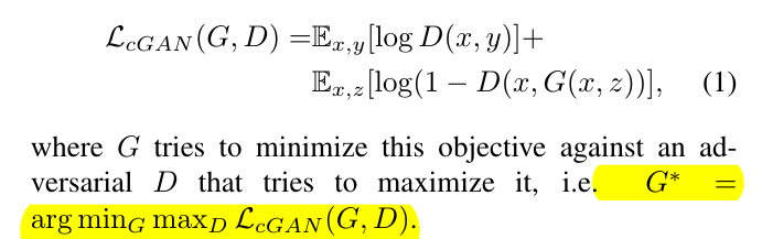 conditional GAN's objective