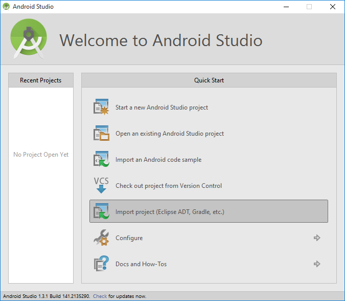Import Android Studio