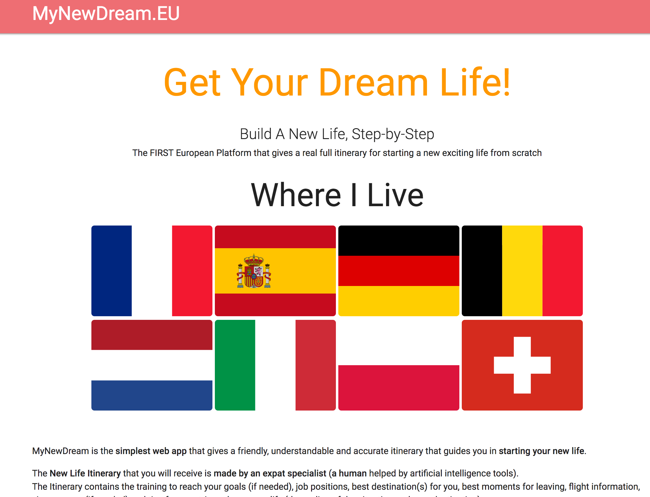 MyDreamLife Homepage Screenshot