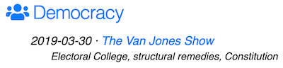 example of van jones interview topic under Democracy header