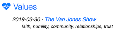 example of van jones interview topic under Value header