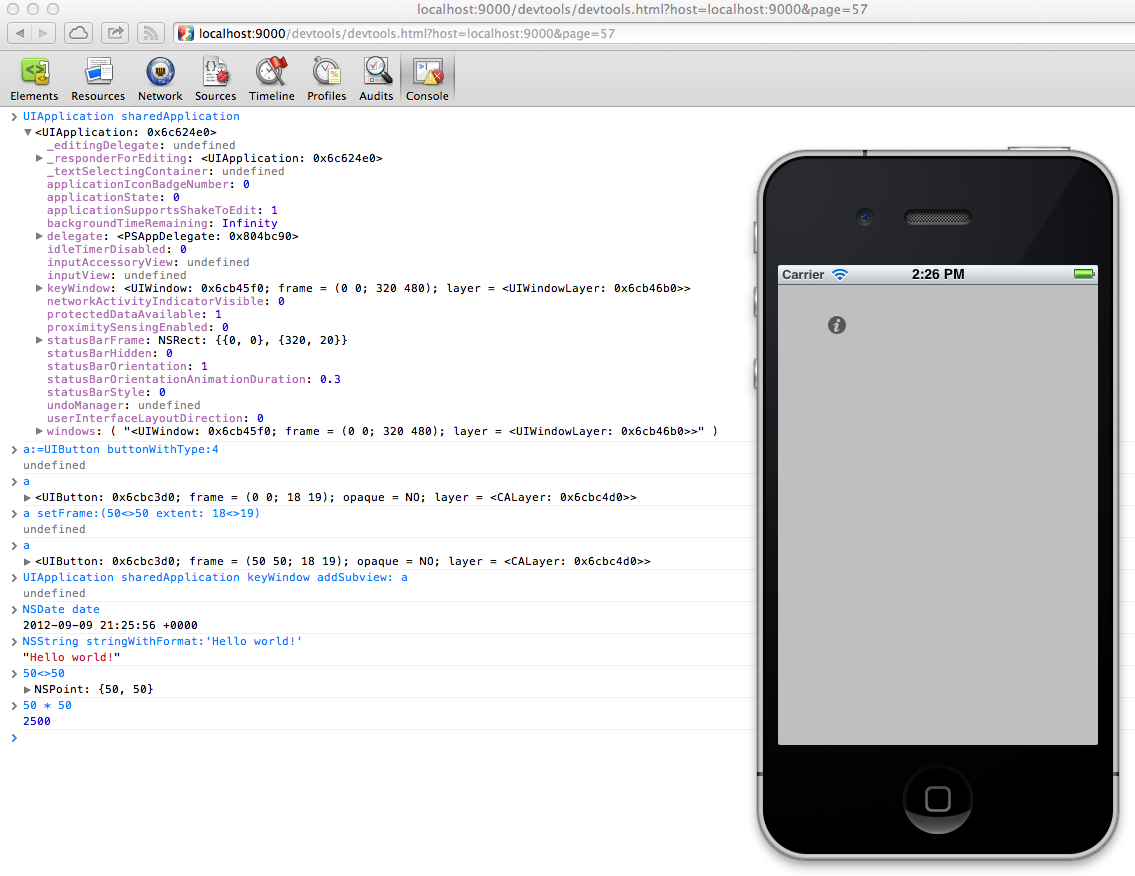PonyDebugger F-Script Runtime Screenshot