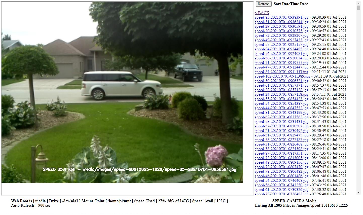 Speed Camera IMAGES Folder Web Page