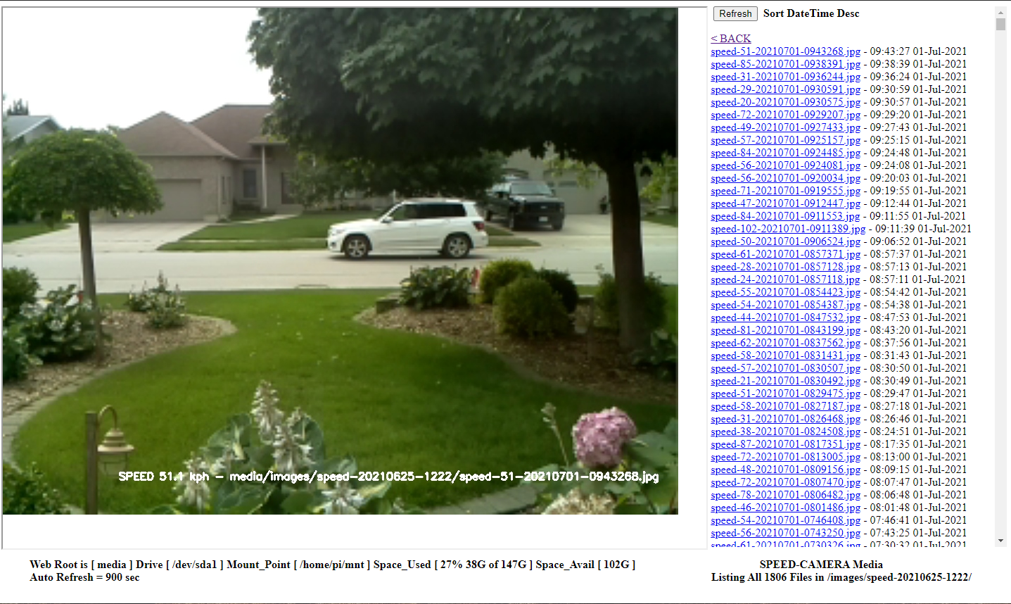 Speed Camera RECENT Folder Web Page