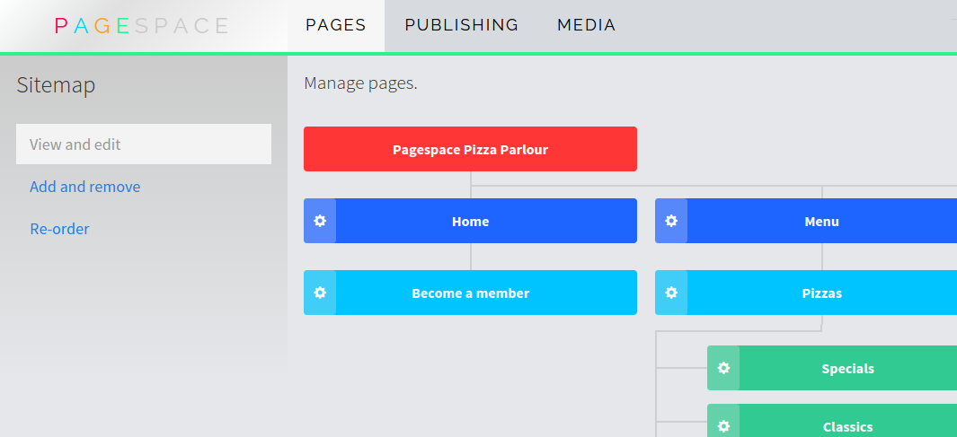 Site settings node