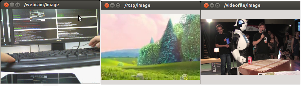 Screenshot of the plugin working with a webcam, video stream and video file